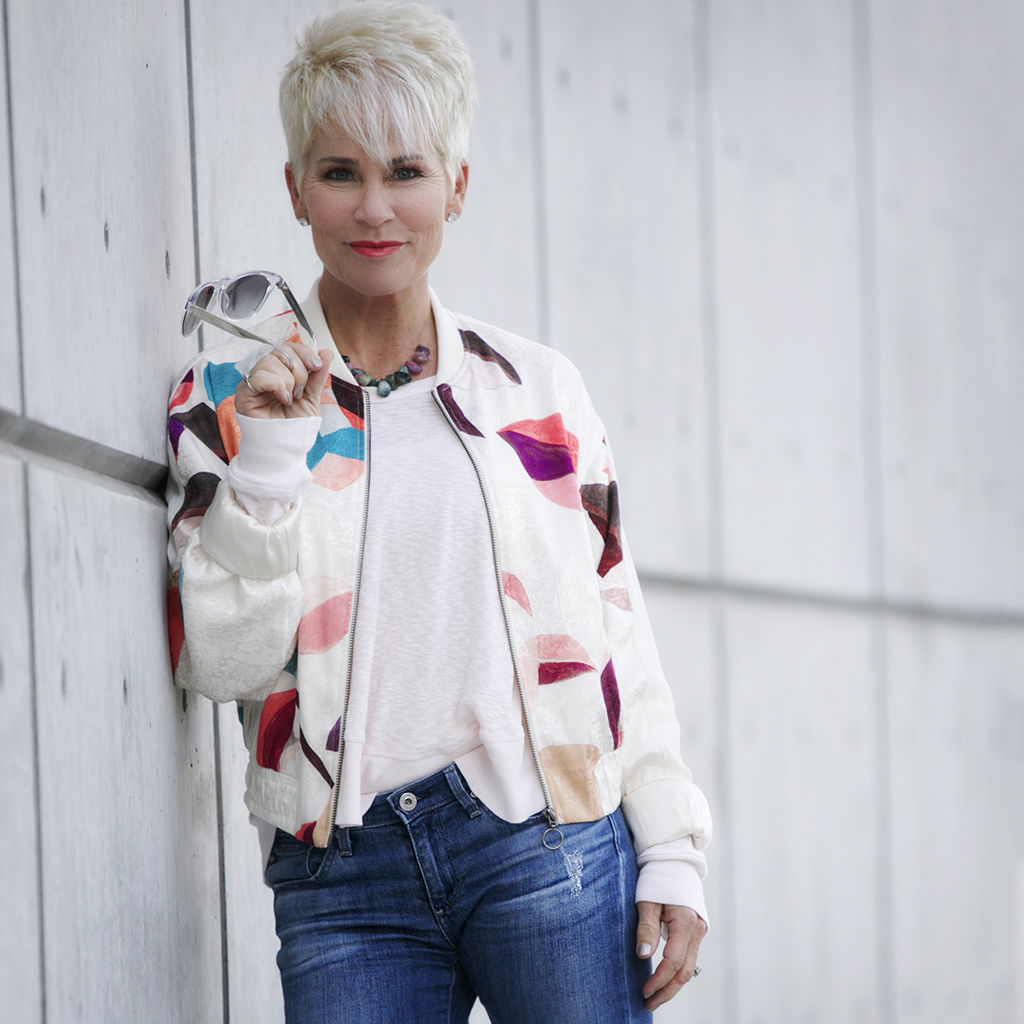 how to wear a bomber jacket over 50